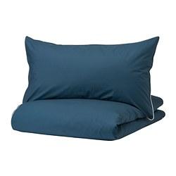 KUNGSBLOMMA - Sarung quilt dan 2 sarung bantal, biru tua/putih