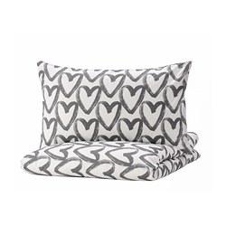 LYKTFIBBLA - Sarung quilt dan sarung bantal, putih/abu-abu