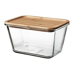 IKEA 365+ - Food container with lid, rectangular glass/bamboo