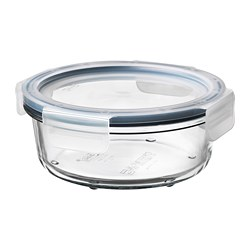 IKEA 365+ - Food container with lid, round glass/plastic