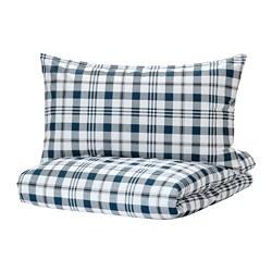 SPIKVALLMO - Sarung quilt dan sarung bantal, putih biru/motif kotak