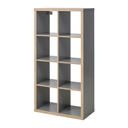 KALLAX - Shelving unit, grey/wood effect