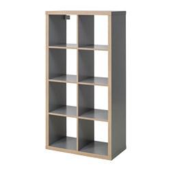 KALLAX - Unit rak, abu-abu/efek kayu
