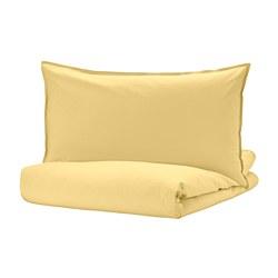 ÄNGSLILJA - Quilt cover and pillowcase, light yellow
