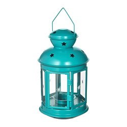 ROTERA - Lantern for tealight, in/outdoor turquoise