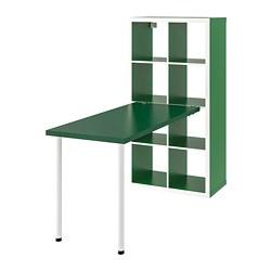 KALLAX - Kombinasi meja, putih/hijau