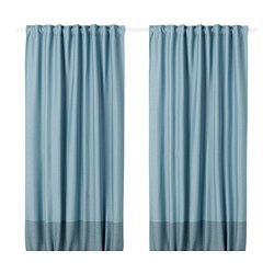 MARJUN - Room darkening curtains, 1 pair, blue