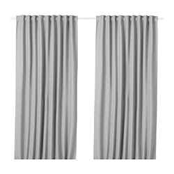 VILBORG - Room darkening curtains, 1 pair, grey