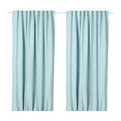VILBORG - Room darkening curtains, 1 pair, white/turquoise