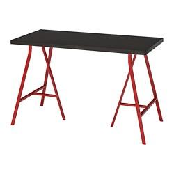 LERBERG/LINNMON - Meja, hitam-cokelat/merah