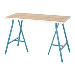LERBERG/LINNMON - Meja, putih efek kayu oak diwarnai putih/biru