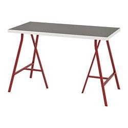 LERBERG/LINNMON - Meja, abu-abu muda/putih/merah