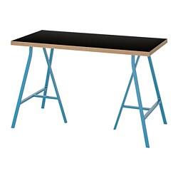 LERBERG/LINNMON - Meja, hitam papan lapis/biru