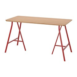 LERBERG/HILVER - Table, bamboo/red