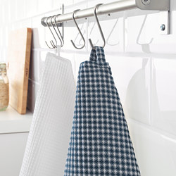 TROLLPIL - Tea towel, white/blue
