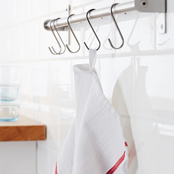 TEKLA - TEKLA, lap dapur, putih/merah, 50x65 cm