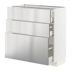 METOD/MAXIMERA - Kabinet dasar dgn 3 laci, putih/Vårsta baja tahan karat