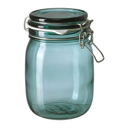 KORKEN - Jar with lid, green