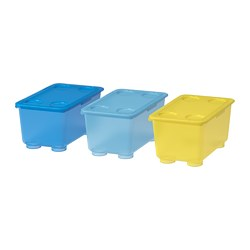 GLIS - Box with lid, yellow/blue