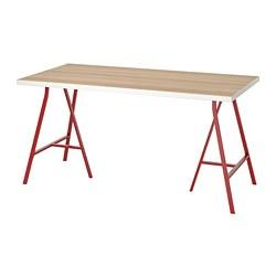 LERBERG/LINNMON - Meja, putih efek kayu oak diwarnai putih/merah