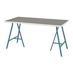 LERBERG/LINNMON - Meja, abu-abu muda putih/biru, 150x75 cm