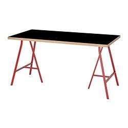 LERBERG/LINNMON - Meja, hitam papan lapis/merah