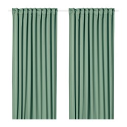 MAJGULL - Block-out curtains, 1 pair, green