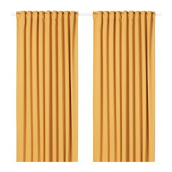 MAJGULL - Room darkening curtains, 1 pair, yellow
