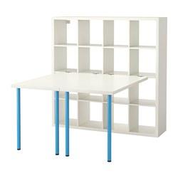 KALLAX - Kombinasi meja, putih/biru