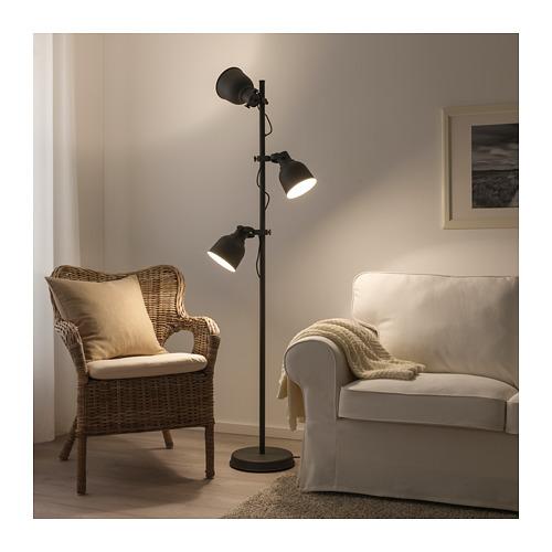 HEKTAR lampu lantai dengan 3 tangkai lampu