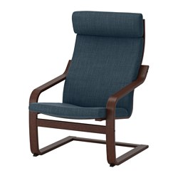 POÄNG - POÄNG, armchair, brown/Hillared dark blue