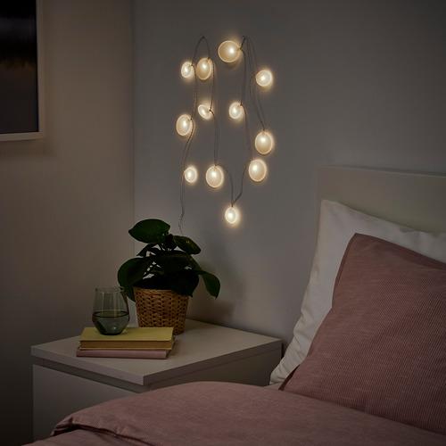 AKTERPORT - rantai lampu LED dengan 12 lampu, dioperasikan dengan baterai/Kerikil putih | IKEA Indonesia - PE822621_S4
