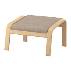 POÄNG - Bangku kaki, veneer kayu birch/Hillared krem
