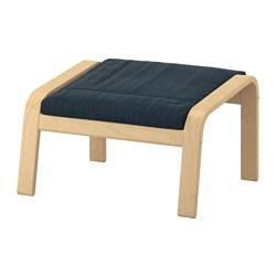 POÄNG - Bangku kaki, veneer kayu birch/Hillared biru tua