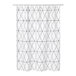 FÖLJAREN - Shower curtain, white black/grey