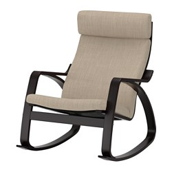 POÄNG - Rocking-chair, black-brown/Hillared beige