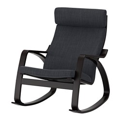 POÄNG - Rocking-chair, black-brown/Hillared anthracite