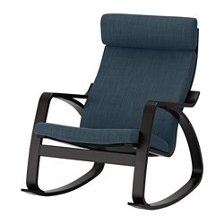 POÄNG - Rocking-chair, black-brown/Hillared dark blue