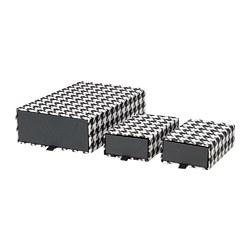SAMMANHANG - Kotak, set isi 3, hitam/putih