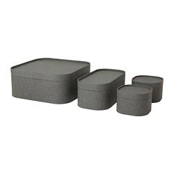 SAMMANHANG - Kotak dengan penutup, set isi 4, abu-abu tua