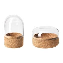 SAMMANHANG - Kubah kaca dengan dasar, set isi 2, kaca bening/gabus
