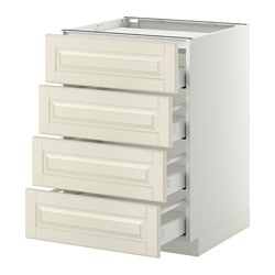METOD - Base cab f hob/4 fronts/4 drawers, white Maximera/Bodbyn off-white