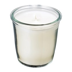 SMÅTREVLIG - Scented candle in glass, Vanilla and sea salt/natural