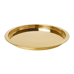GLATTIS - Tray, brass-colour