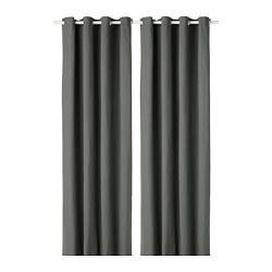 MERETE - Room darkening curtains, 1 pair, grey