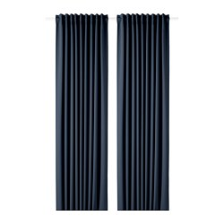 MAJGULL - Block-out curtains, 1 pair, dark blue