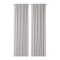 MAJGULL - Room darkening curtains, 1 pair, light grey