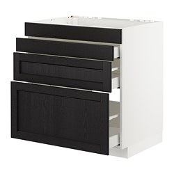 METOD - Base cab f hob/4 fronts/3 drawers, white Maximera/Lerhyttan black stained