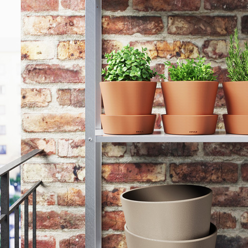 INGEFÄRA - plant pot with saucer, outdoor/terracotta, 12 cm | IKEA Indonesia - PE594834_S4