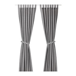 LENDA - Curtains with tie-backs, 1 pair, grey